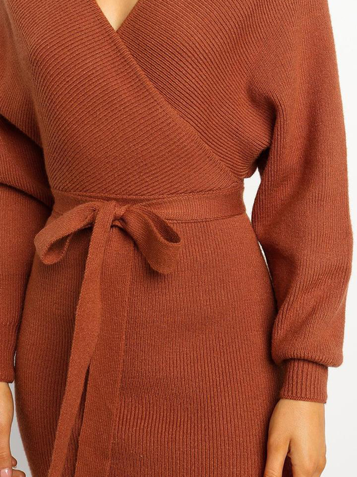 Winter V Neck Wrap Midi Dress