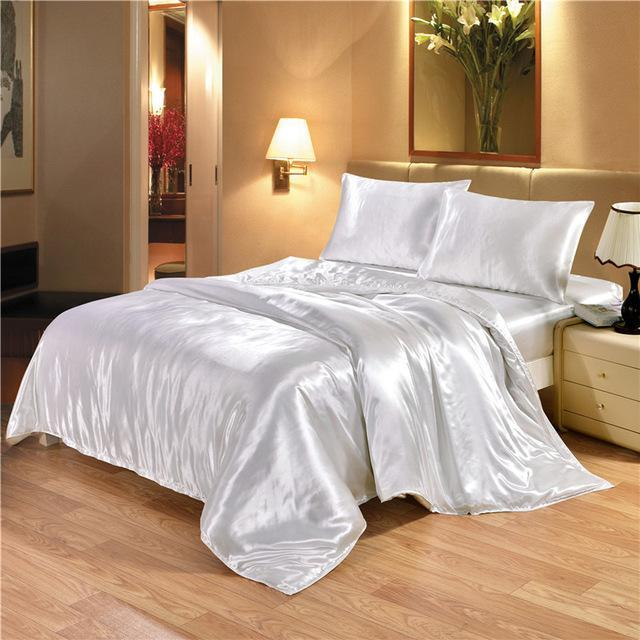 Bedding Sets King Double Size Satin Silk Luxury Bedding Kit Duvet Cover Set