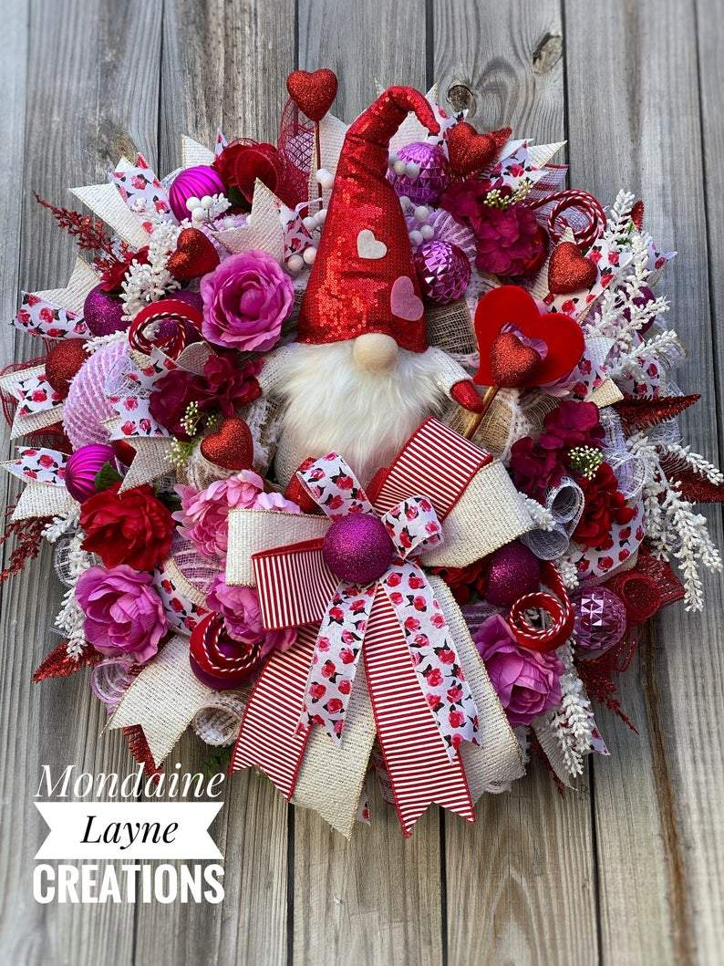 Valentines Day Wreath for Front Door, Gnome Valentines Day Wreath For Front Door