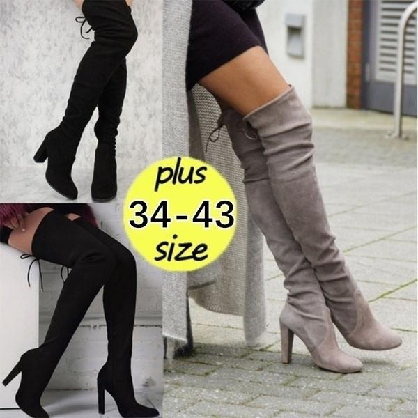 Plus Size:34-43 New Women's Over Knee High Boot Lace Up Stretch Slim Thigh high heel Long Thigh Boots Shoes