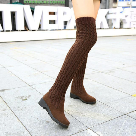 Women's Knitted Wool High Tube Flat Bottom Over The Knee Stretch Martin Boots
