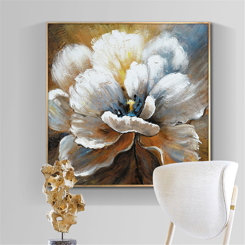Abstract Flower Painting Wall Art Hand Painted Oil Painting On Canvas Handmade White Flower Painting Art For Modern Home Decor