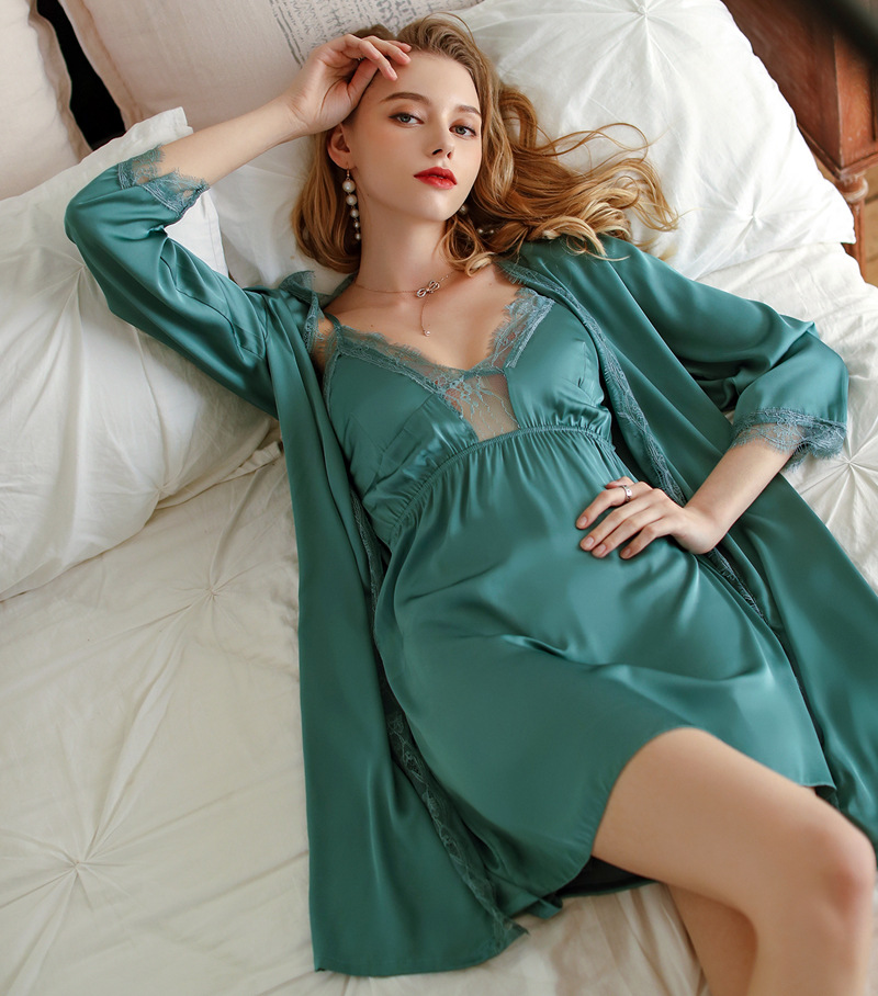 Imitation silk pajamas women's spring, summer and autumn sexy suspender nightdress two-piece nightgown with chest pad