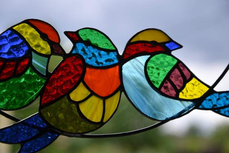 Birds On A Branch Suncatcher Stained Glass Window Hanging Multicolor Birds
