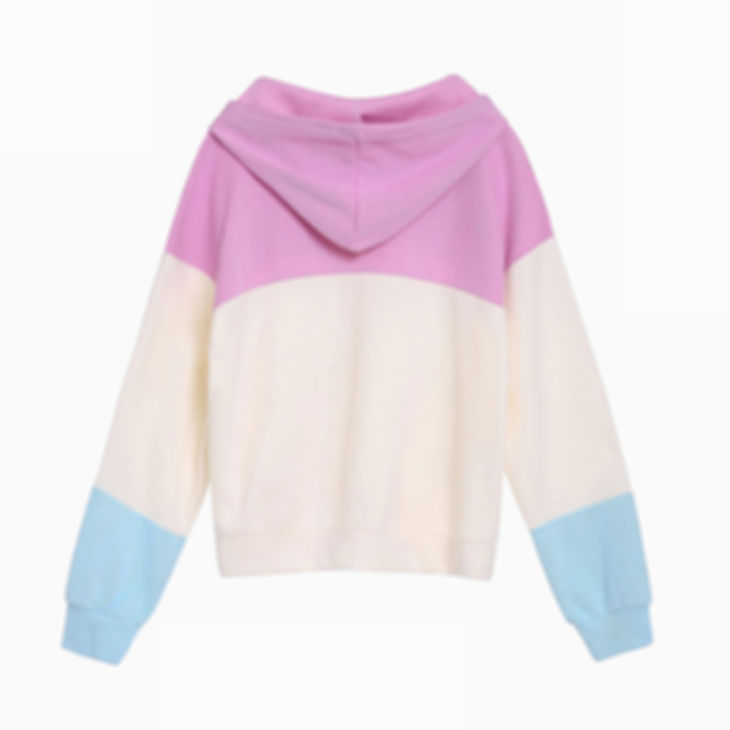 Sweet Drawstring Colorblock Sweatshirt