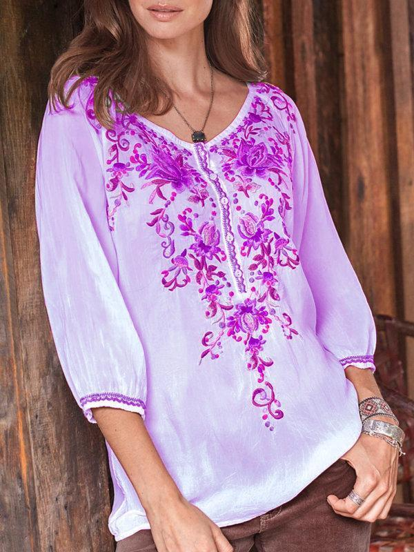 Women Floral-print Long Sleeve Buttoned Shirts & Tops