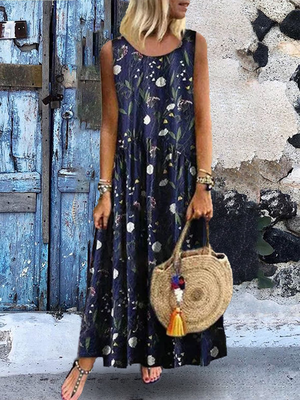 Sleeveless Floral Printed Casual Maxi Dresses