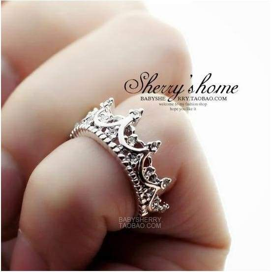 US4-US9 Sterling Silver Filled Zirconia CZ Queen Crown Princess Wedding Ring Valentine's Gift