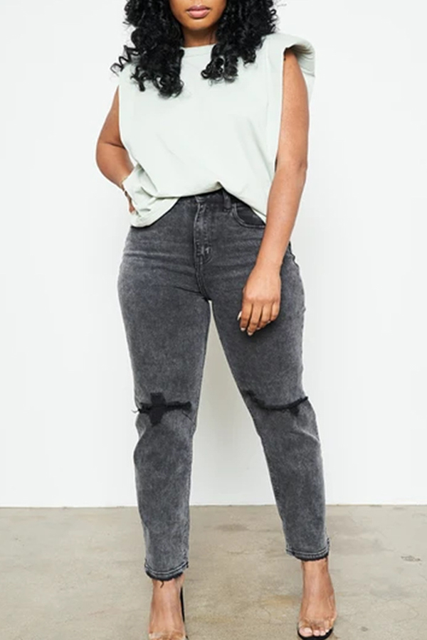 Slim-fit Ripped Washed Jeans
