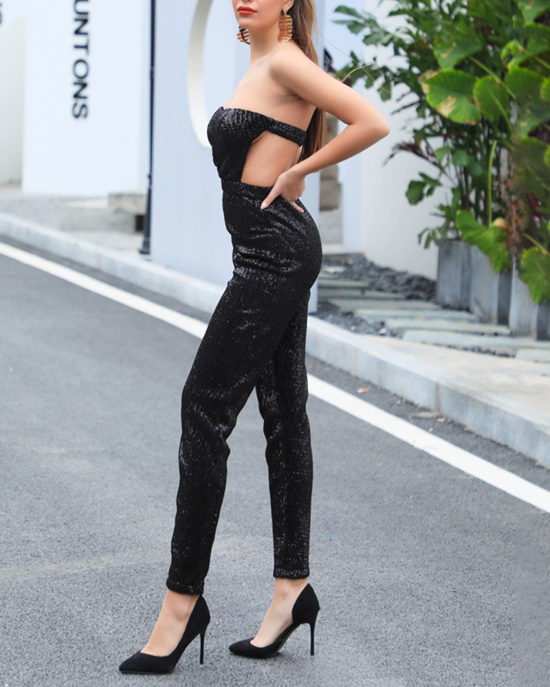 Sexy Off-The-Shoulder Sequined Jumpsuit