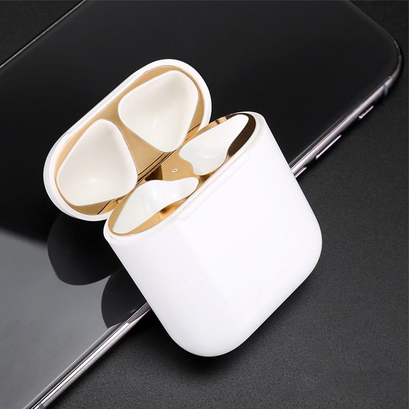 3 pairs Ultra Thin Skin Protective Cover Metal Film Sticker Iron Shavings Dust Guard for AirPods Airpod