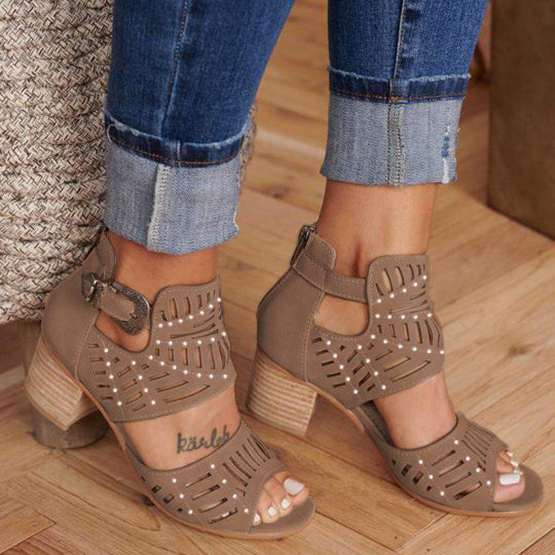 Zoeyootd Women Cut-out Casual Sandals
