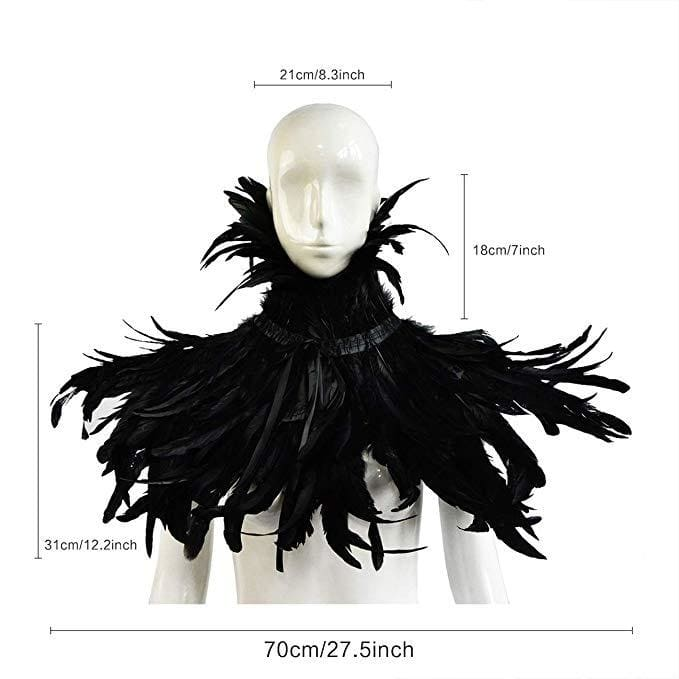 Halloween Costume Gothic Black Natural Feather Cape Shawl with Choker Collar