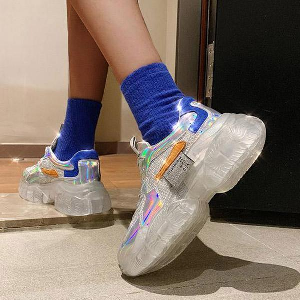 Faddishshoes Crystal Thick Bottom Women's Leisure Sneakers
