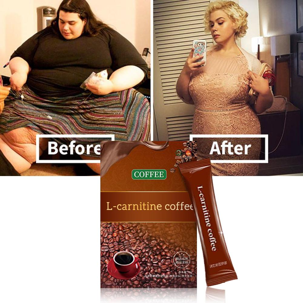 02-L-carnitine Instant Coffee for Weight Loss, Slimming Coffee,1 Box (7 Packs Total)