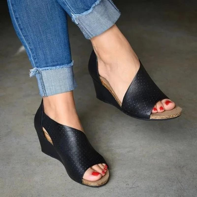 Womens Wedges Sandals With Hollow Open Side Cut-outs Zipper Sandals