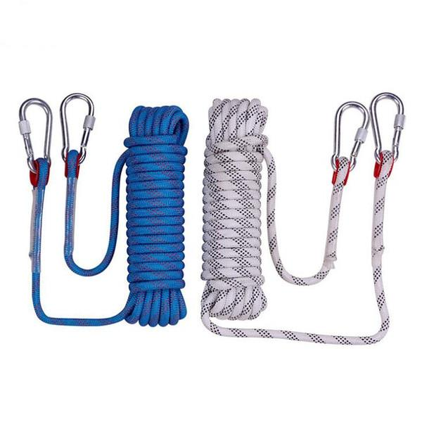 32.8FT Rock Climbing Rope High Strength Diameter 12mm Hike Equipment Gear Outdoor Survival Paracord Safety Rope Carabiner Hiking Accessory