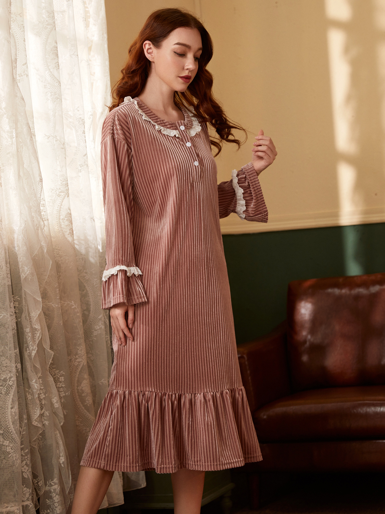 Gold velvet long-sleeved mid-length thick warm pajama sleep dress