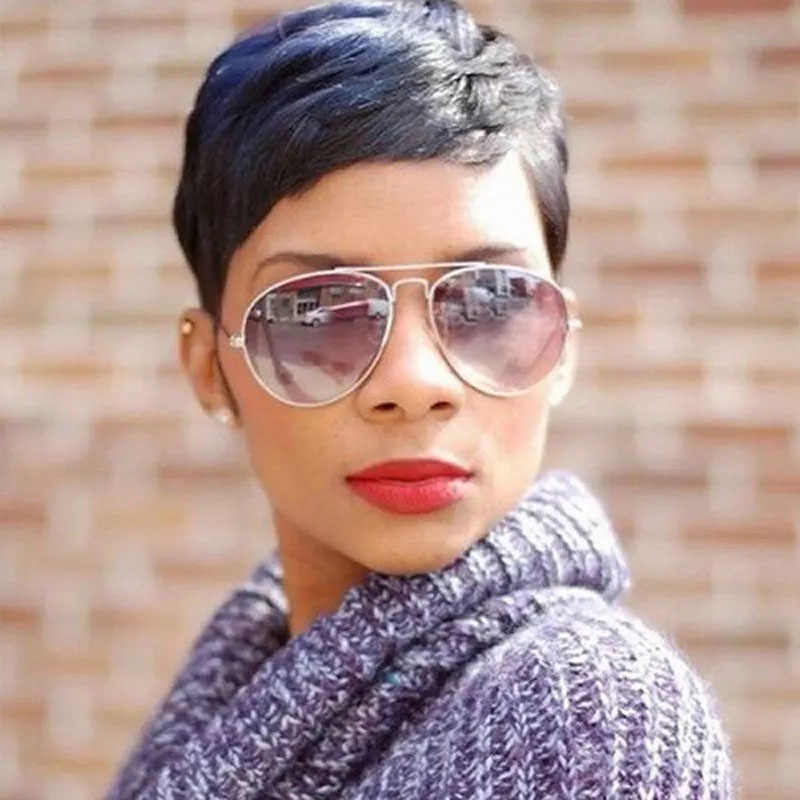 Lunawigs Short Straight Wig for African American Women