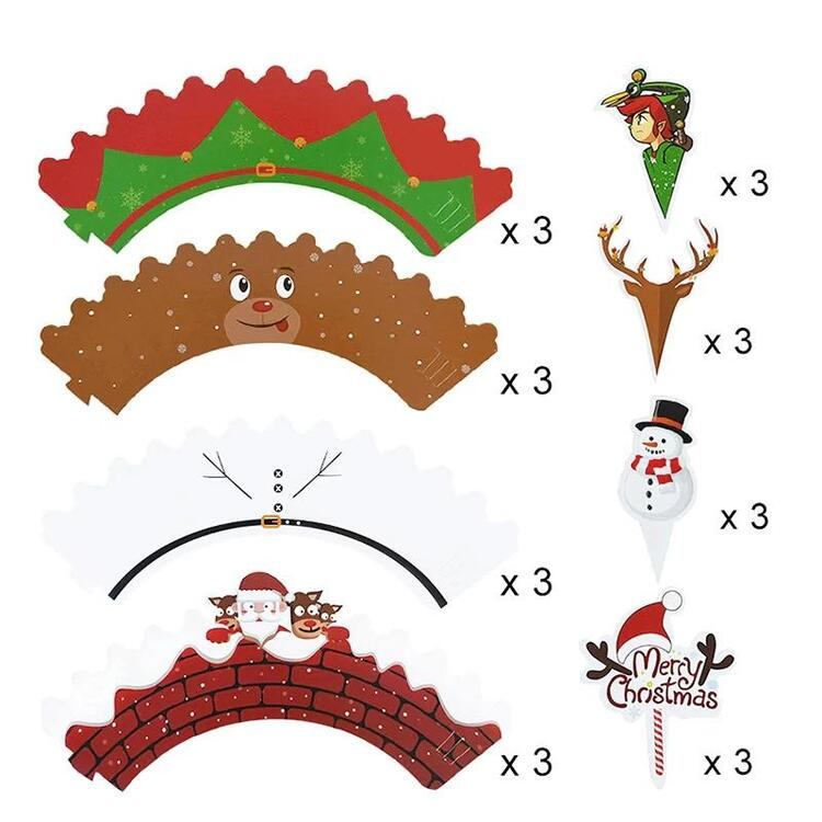 24 Pcs Christmas Paper Cupcake Wrappers with Cupcake Toppers, Sweet Cupcakes Decorations Paper Cupcake Topper Picks Santa Claus Elf Snowman Reindeer Deco