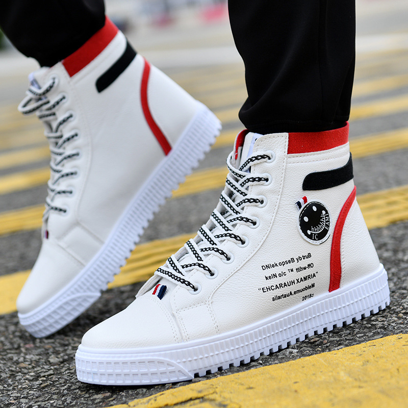 British style trendy men's shoes White high-top casual shoes sneakers