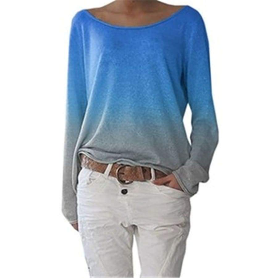 Women Fashion Rainbow Gradual Printed Long Sleeve Shirts O-neck Blouse Casual Tops Plus Size Loose Blouse Round Neck Pullover T-shirts