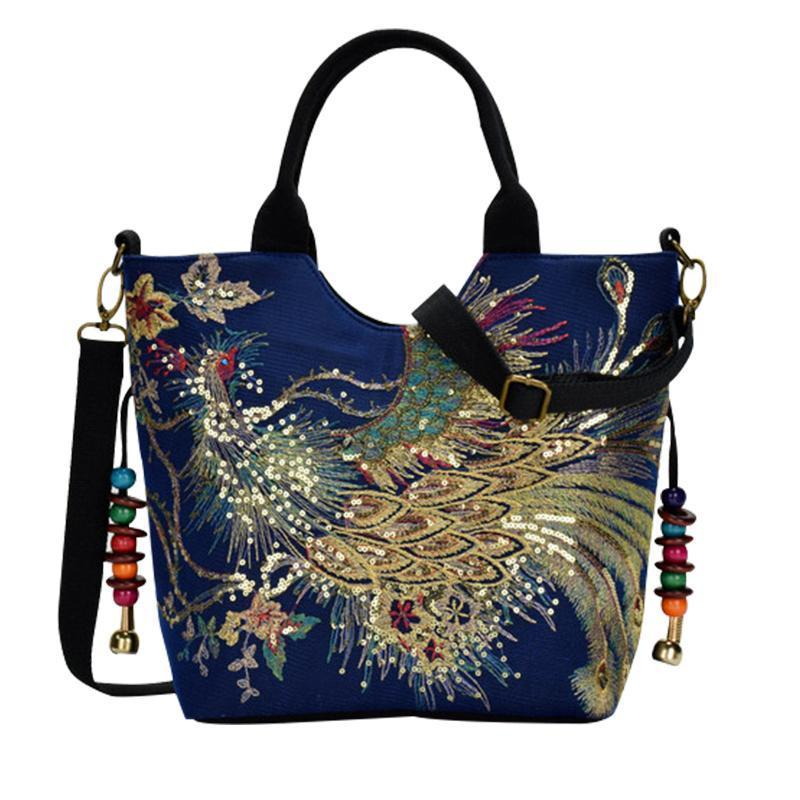 Handmade floral-patterned lady handbag