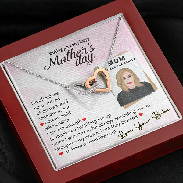 Funny Mother's Day Schitts Creek Double Heart Necklace