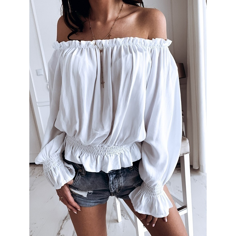 2019 Women's Fashion New Flare Sleeve Boat Neck Off The Shoulder Blouse Summer Women Long Sleeve Elastic Cuffs Waist Top Casual  Slim Fit Lady Plus Size Tops