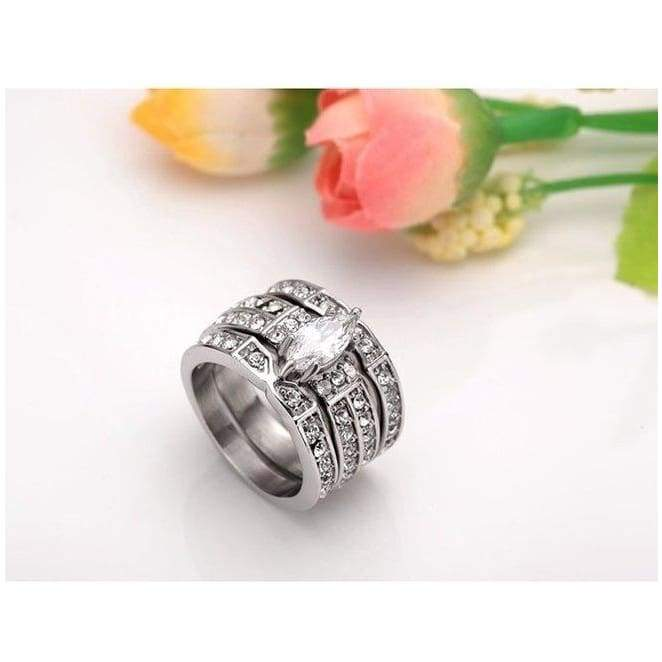 Marquise Cut 925 Sterling Silver White Topaz Crystal Ring Set Wedding