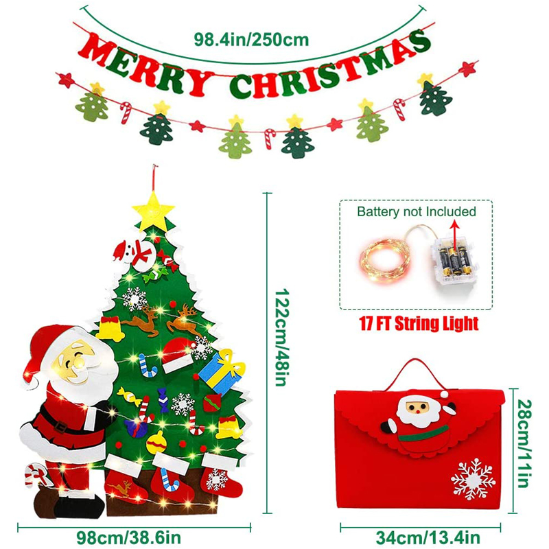 Felt Christmas Tree 4ft With LED Lights Strip 38 Pcs