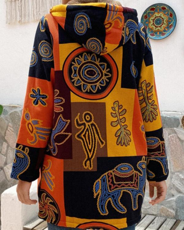 Printed Hooded Pockets Coat for Women