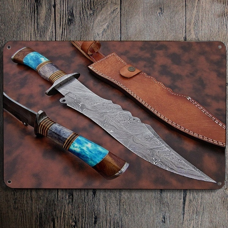 Tin Sign Handmade Bowie Knife Damascus Steel Hunting Bowie Knives (20X30cm)