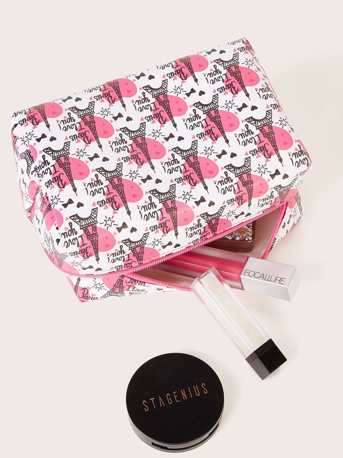 Eiffel Tower Pattern Makeup Bag