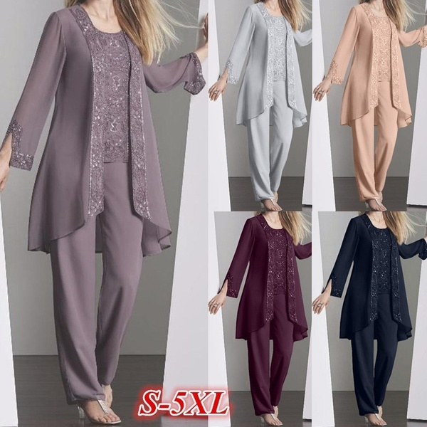 Women 3pcs Set Lace Tops with Chiffon Long Pants and Patchwork Loose Cardigans Plus Size