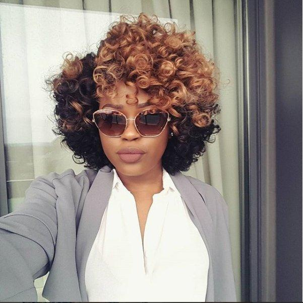 Luna A07 African American Short Curly Hair Wig with Bangs
