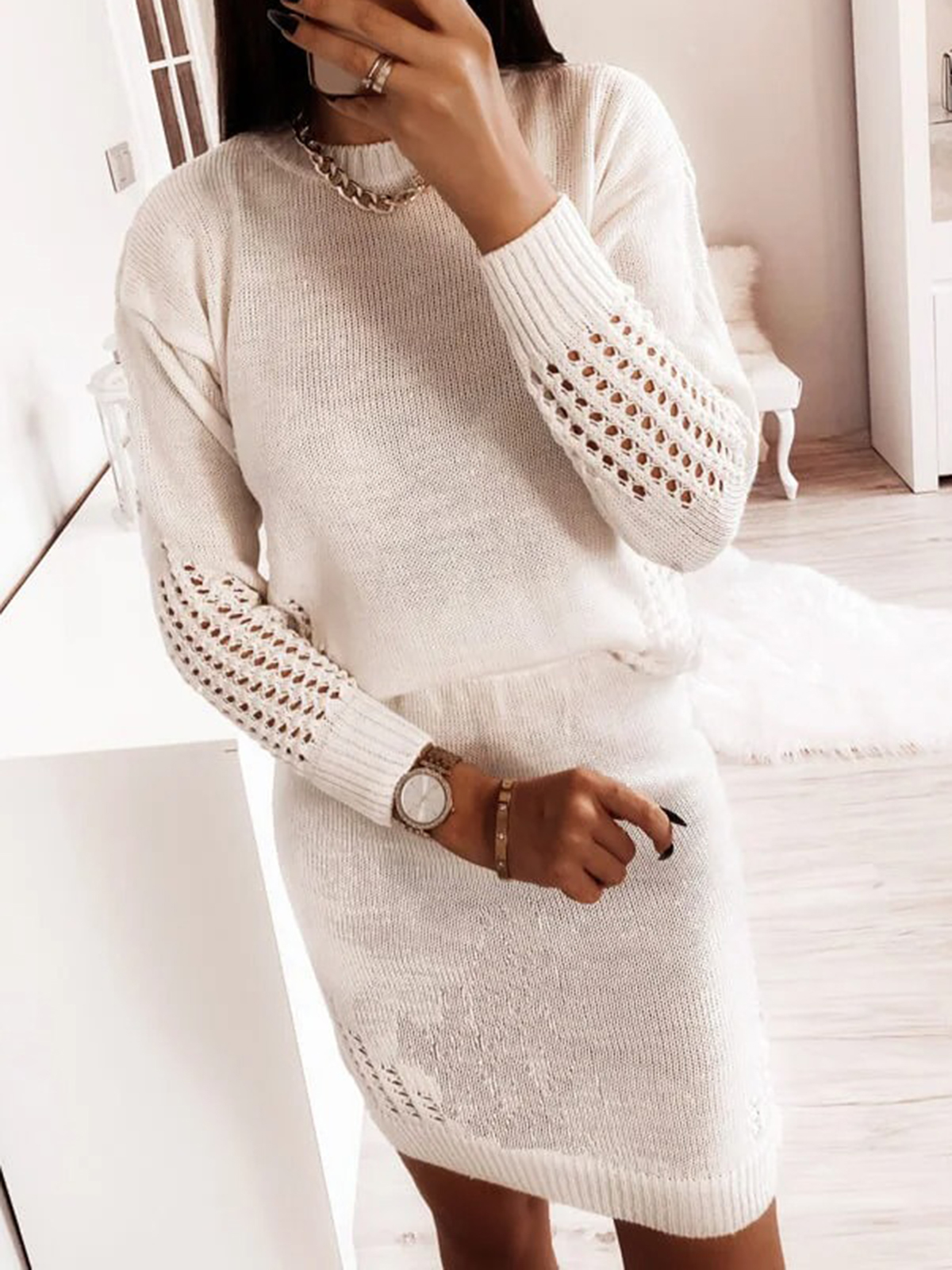 Dresses Women'S High Neck Tight-Fitting Knitted Sexy Hollow