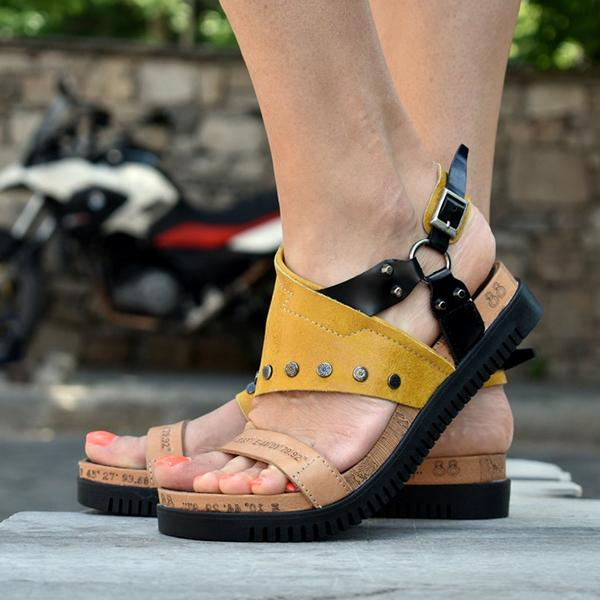 Women Casual Buckle Strap Hollow Out Wedge Sandals
