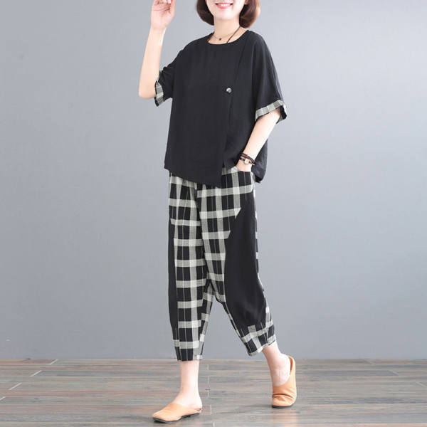 Summer new style plaid top and pants two-piece suit