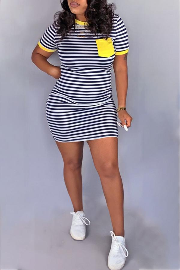 Striped Short Sleeve Dress(With Pocket)