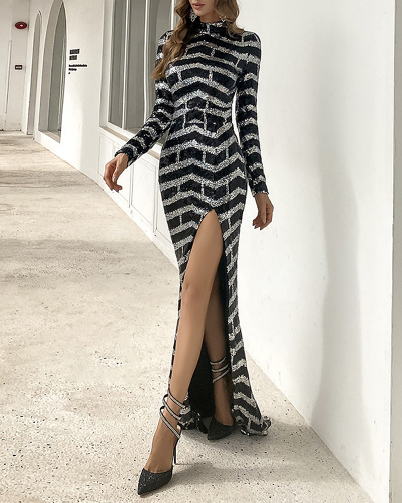 Striped Split Sequin Bodycon Evening Dress