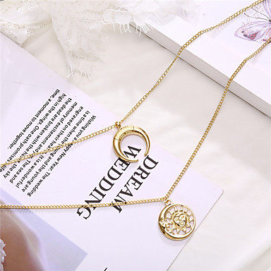Women's Pendant Necklace Chain Necklace Necklace Layered Sun Vintage Punk European Trendy Silver Plated Gold Plated Gold Silver 42-52 cm Necklace Jewelry 1pc For Daily Carnival Prom Holiday Festival