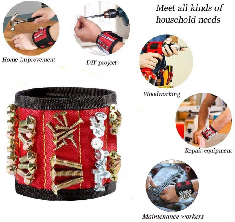 Magnetic Wristband with Strong Magnets for Holding Screws, Nails, Drill Bits for DIY Handyman