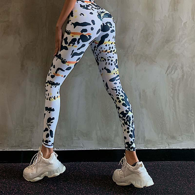 Watercolor Spots Camouflage Hip Lifting Leggings