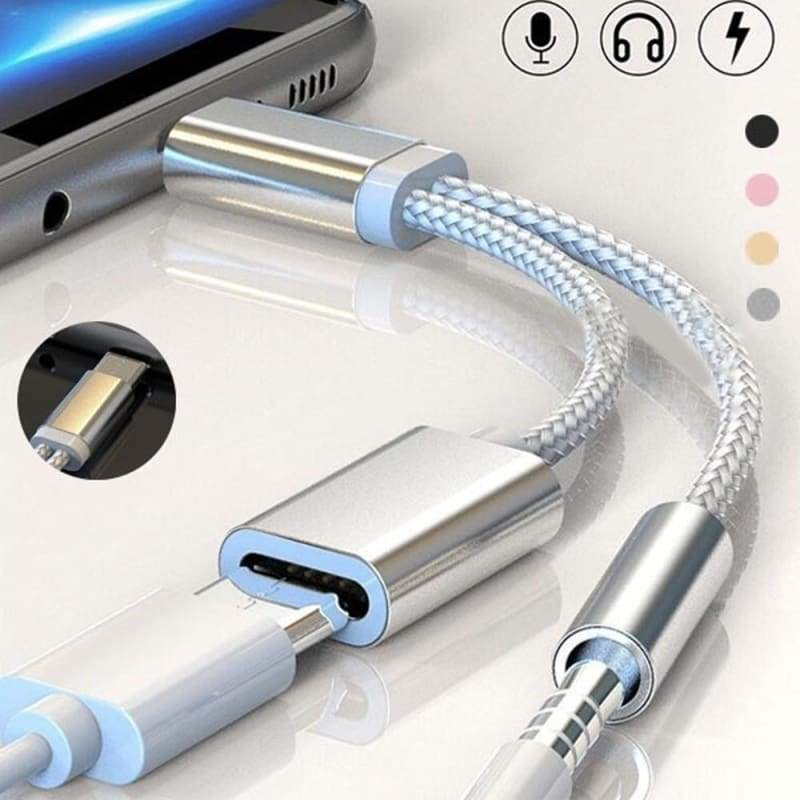 Headphone USB Cable 2in1 Type-C Adapter Converter Audio Cable Splitter
