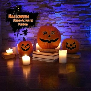 Halloween funny weird expression talking singing pumpkin projection lamp