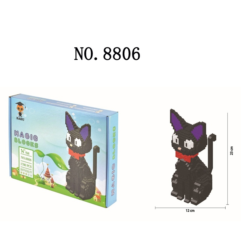 Small blocks Cute Model Plastic Building Bricks Dog Educational Kids Toys Cartoon Cat Auction Figures Girls Gifts