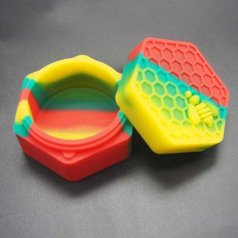 1pc 26ML Honeybee Silicone Jars Dab Container With Round Silicone Pad Wax Tool Multi-colored Containers