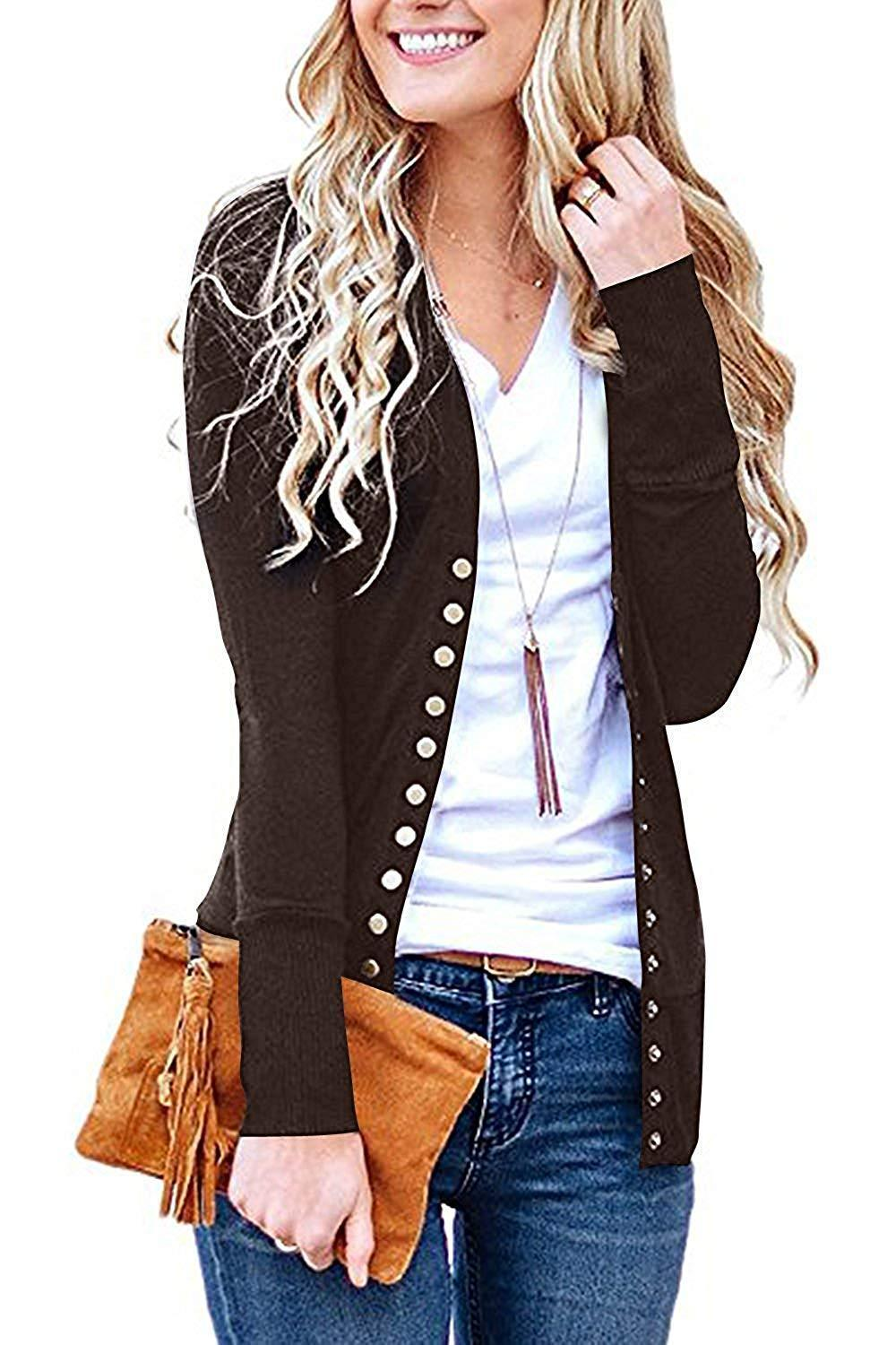 Solid Button Front Knitwears Long Sleeve Casual Cardigans