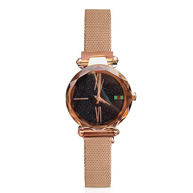 Fashion Analogue Quartz Watches Magnetic Band Starry Sky Dial Wrist Watch for Girl